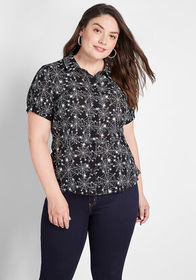 ModCloth ModCloth Any Which Web Peplum Top Black S
