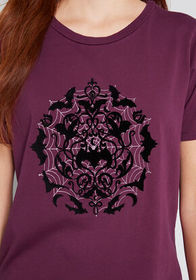 Keep Soaring Bats Graphic Tee Purple