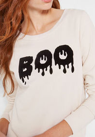 Boo Flocked Graphic Sweatshirt Oatmeal