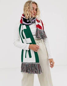 ASOS DESIGN logo print knitted scarf with tassels