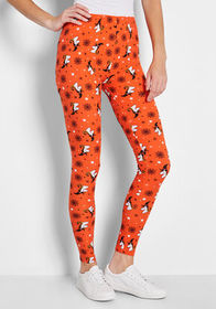 My Kind of Witch Halloween Leggings Orange Unicorn