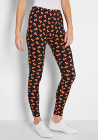 Trick or Treat Halloween Leggings Black/Orange Can