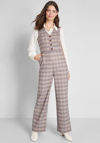 ModCloth Plaid Appeal Vest Jumpsuit Tan Plaid