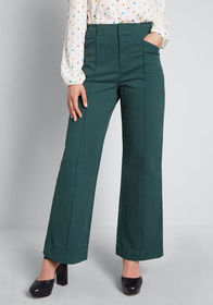 ModCloth The Style is Yours Wide-Leg Pants Green