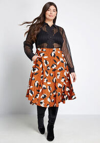 ModCloth ModCloth Just This Sway A-Line Skirt Brow