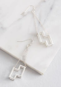 ModCloth x Tetris Well Played Earrings Silver