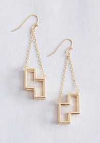 ModCloth x Tetris Well Played Earrings Gold