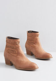 Weaving Details Bootie Tan