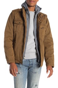 Levi's Faux Shearling Lined Hooded Military Jacket