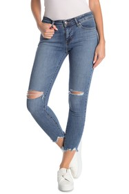 Levi's 711 Distressed Frayed Crop Skinny Jeans