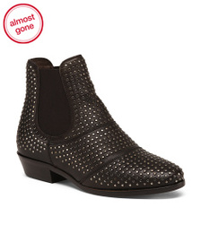 BOEMOS Made In Italy Leather Beatles Stud Booties