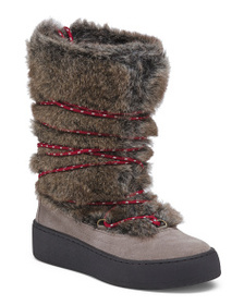 AEROSOLES Faux Fur Boots With Wraparound Lacing