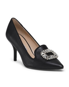 CHARLES DAVID Leather Pumps With Ornament Details