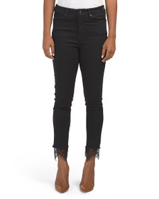 SEVEN7 Ultra High Rise Skinny Jeans With Lace Hem