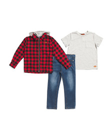 7 FOR ALL MANKIND Little Boys 3pc Plaid Hoodie And