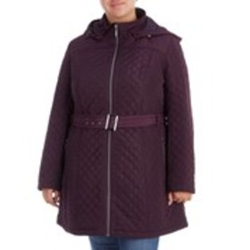 GALLERY Plus Size Quilted Coat with Detachable Hoo