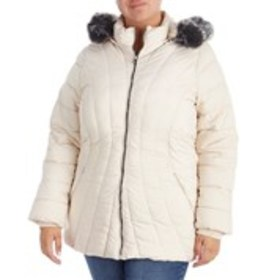 Plus Size Crescent Puffer Parka With Hood