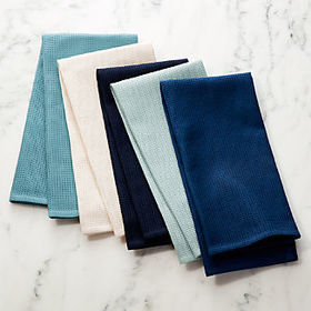 Crate Barrel Salsa Solid Blues Dish Towels, Set of