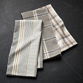Crate Barrel NewMyles Neutral Dish Towels, Set of