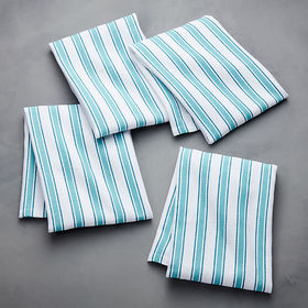 Crate Barrel Aster Stripe Aqua Dish Towel, Set of