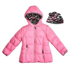 LONDON FOG Girls Zebra Lined Hooded Puffer Jacket