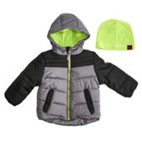 Toddler Boys Colorblock Puffer Jacket with Bonus H