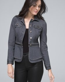 Peplum Casual Jacket with Faux Leather Trim