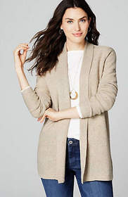 Open-Front Rib-Trimmed Cardi
