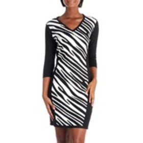 EMMA AND POSH Three Quarter Sleeve Zebra Print Swe