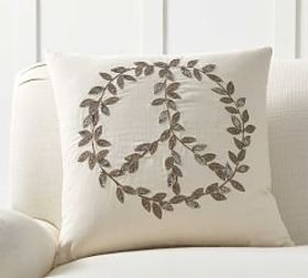 Pottery Barn Peace Leaves Embellished Pillow Cover