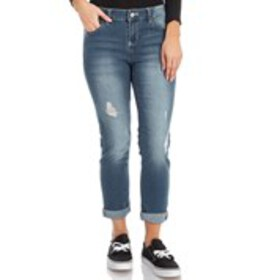 Juniors Roll Cuff Lightly Distress Skinny Jeans