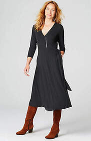 Ribbed-Knit Wrap Dress