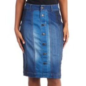 ONE 5 ONE Mixed Denim A-line Pencil Skirt