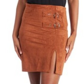 POSH Faux Suede Buckle Front Mini Skirt