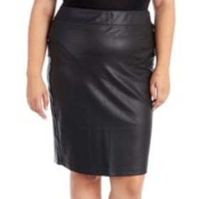 D JEANS Plus Size Coated Ponte Knit Pull-On Skirt