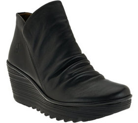 FLY London Leather Ruched Ankle Boots - Yip - A270