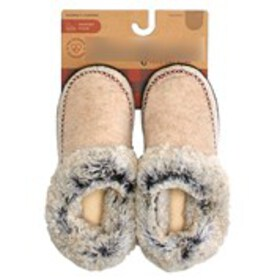 Womens Faux Fur Cuff Felt Booties Slippers