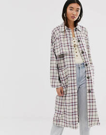 Monki check lightwieght coat in beige and pink