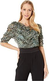Rebecca Taylor Short Sleeve Lynx Ruffle Top