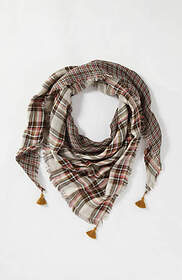 Tasseled Mixed-Plaid Triangle Scarf