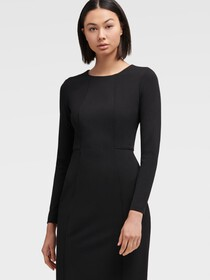 Donna Karan LONG SLEEVE SEAMED SHEATH DRESS