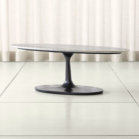 Crate Barrel Nero Brown Marble Oval Coffee Table