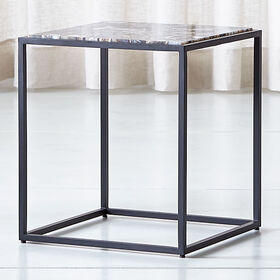 Crate Barrel Mix Agate Tall Metal Frame Side Table