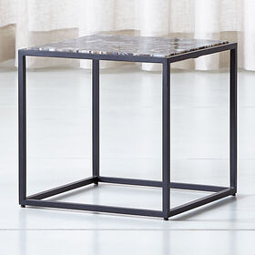 Crate Barrel Mix Agate Low Metal Frame Side Table