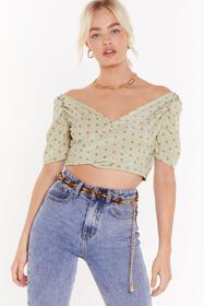 Nasty Gal Womens Sage Polka Dot Shirred Back Wrap