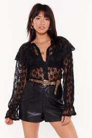 Nasty Gal Womens Black Cool Down the Lace Embroide