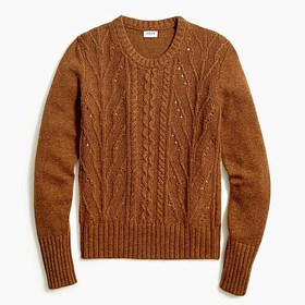J. Crew Factory Pointelle cable front pullover swe
