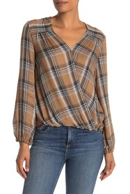 Max Studio Plaid Draped Wrap Blouse