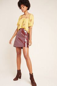 Anthropologie Faux Patent Leather Skirt