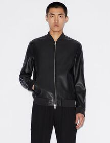 Armani LOGO TAPE FAUX LEATHER BOMBER